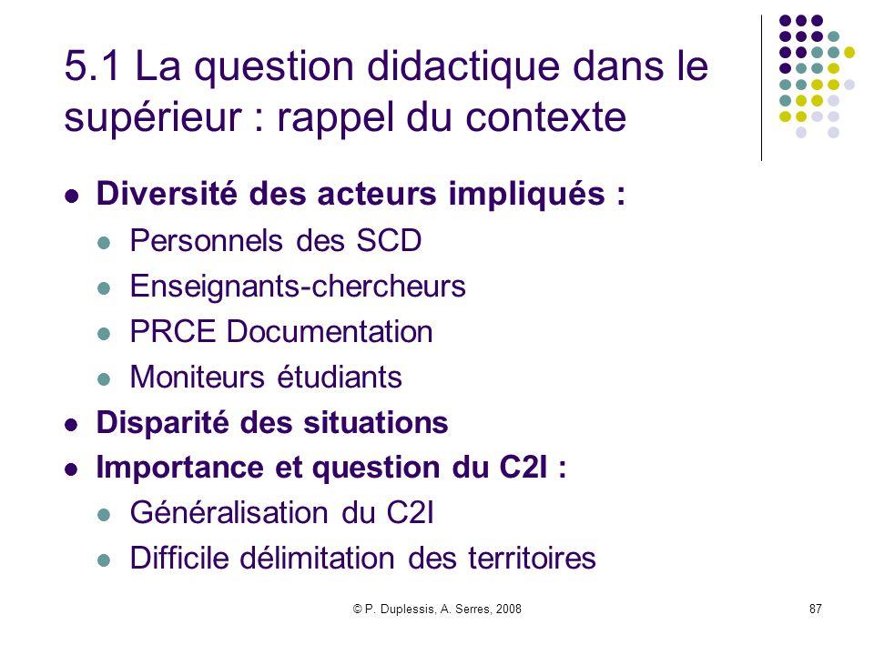 5.1 La question didactique dans le supérieur : rappel du contexte