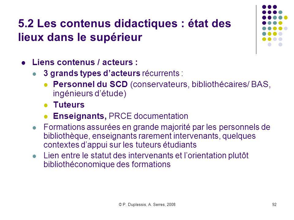5.2 Les contenus didactiques : état des lieux dans le supérieur