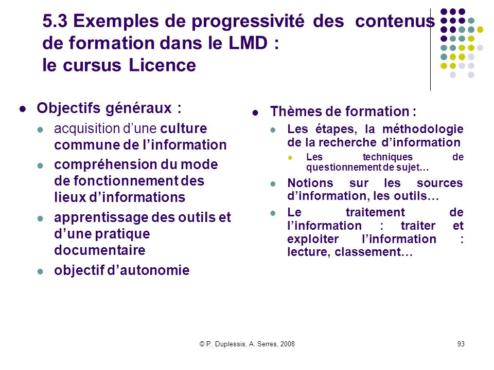 5.3 Exemples de progressivité des contenus de formation dans le LMD : le cursus Licence