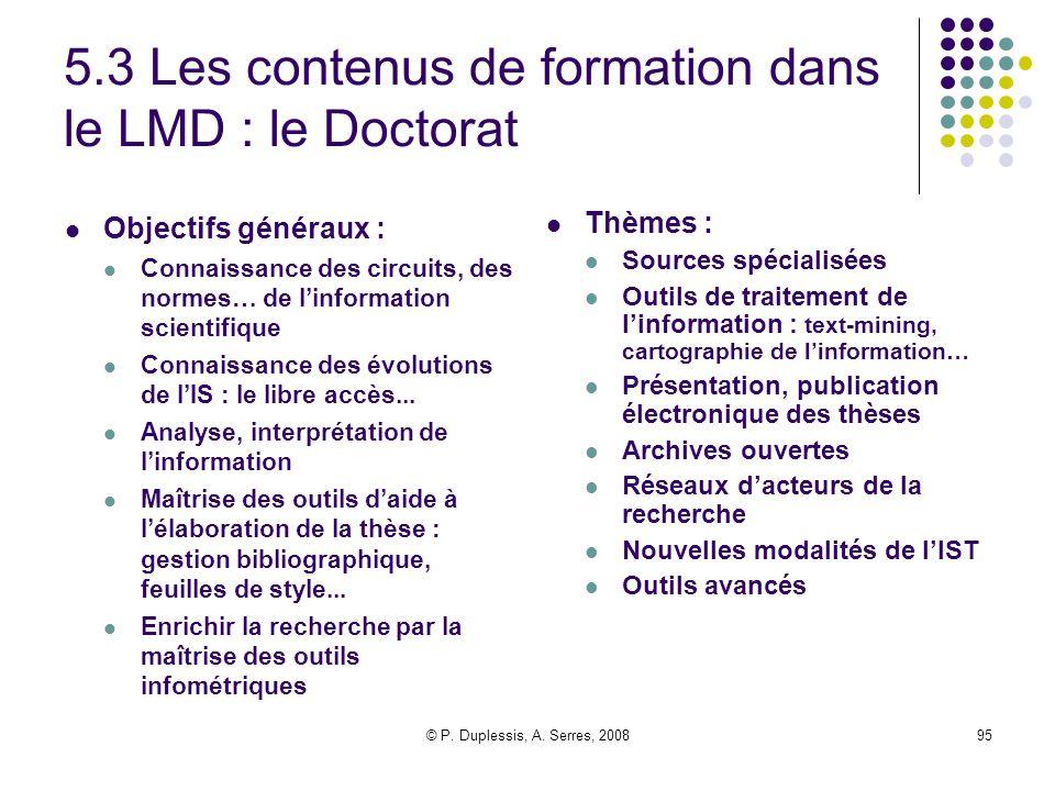 5.3 Les contenus de formation dans le LMD : le Doctorat