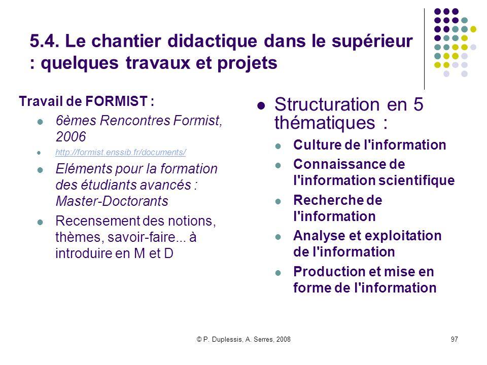 Structuration en 5 thématiques :