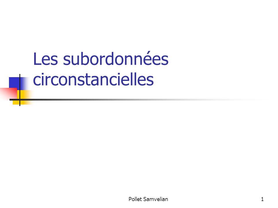 Les subordonnées circonstancielles