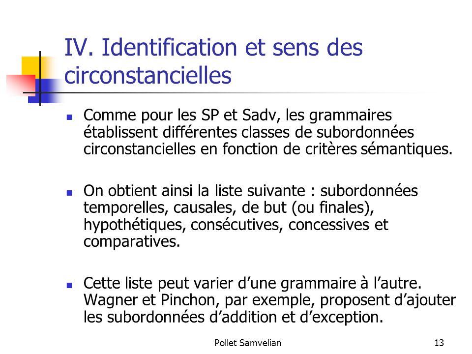 IV. Identification et sens des circonstancielles