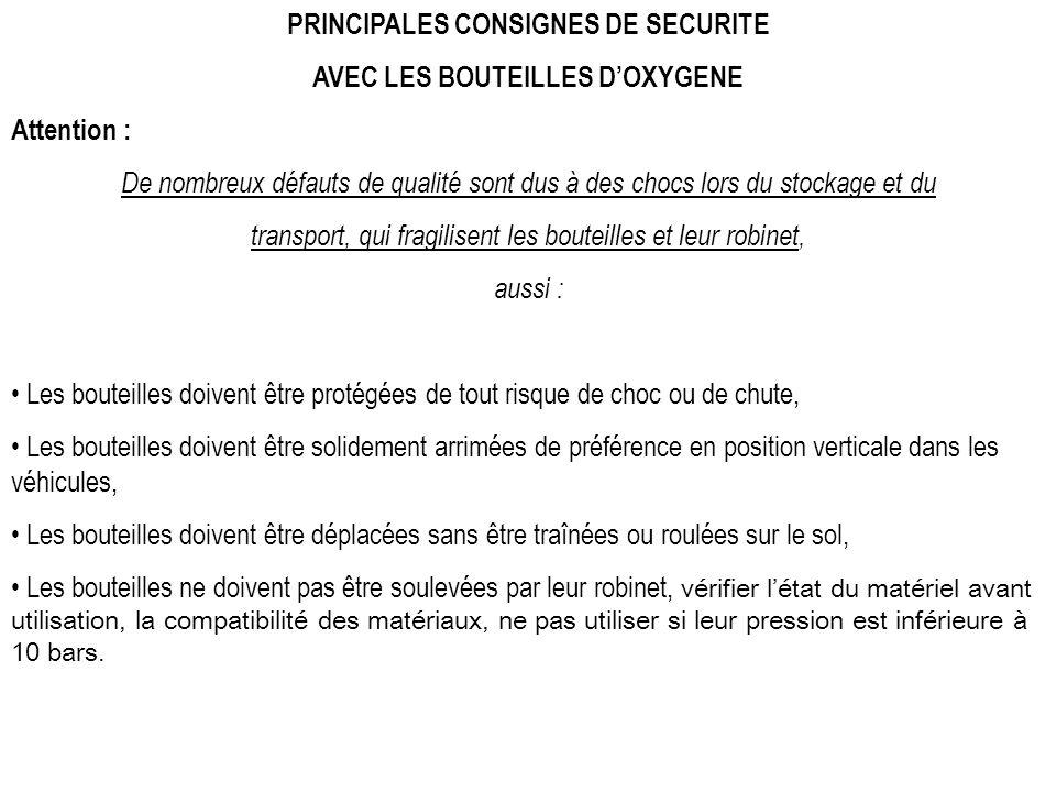 PRINCIPALES CONSIGNES DE SECURITE AVEC LES BOUTEILLES D'OXYGENE
