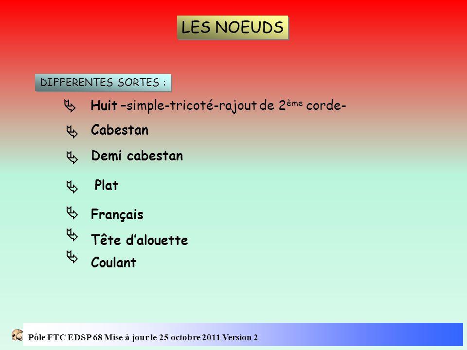 LES NOEUDS        Huit –simple-tricoté-rajout de 2ème corde-