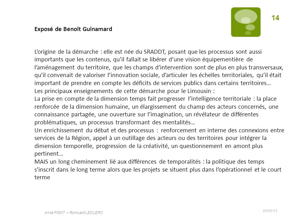 Exposé de Benoit Guinamard