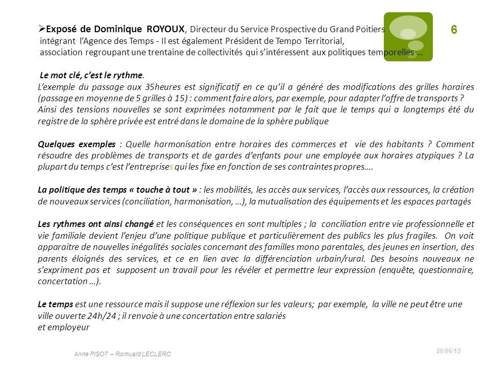 Exposé de Dominique ROYOUX, Directeur du Service Prospective du Grand Poitiers