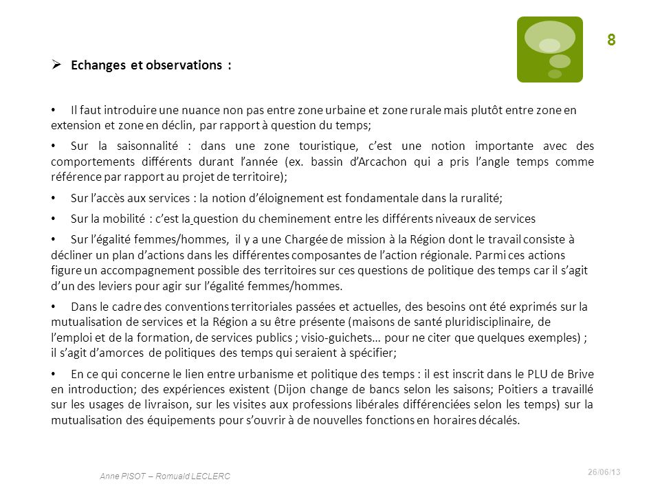Echanges et observations :