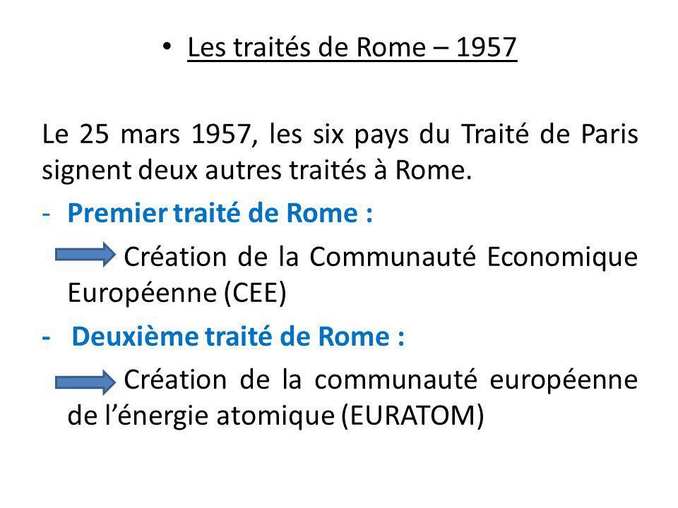 Les traités de Rome – 1957 Le 25 mars 1957, les six pays du Traité de Paris signent deux autres traités à Rome.