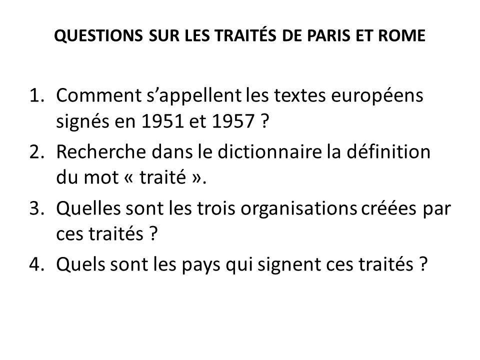 QUESTIONS SUR LES TRAITÉS DE PARIS ET ROME
