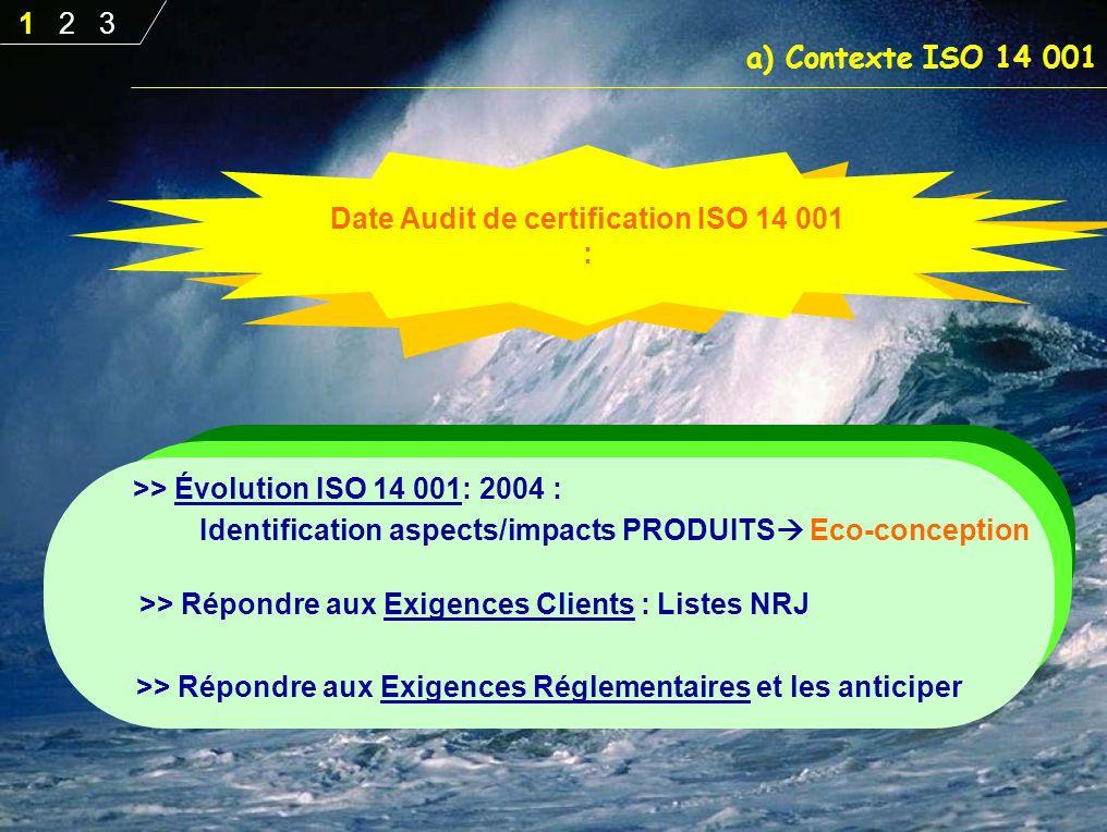 Date Audit de certification ISO 14 001 :