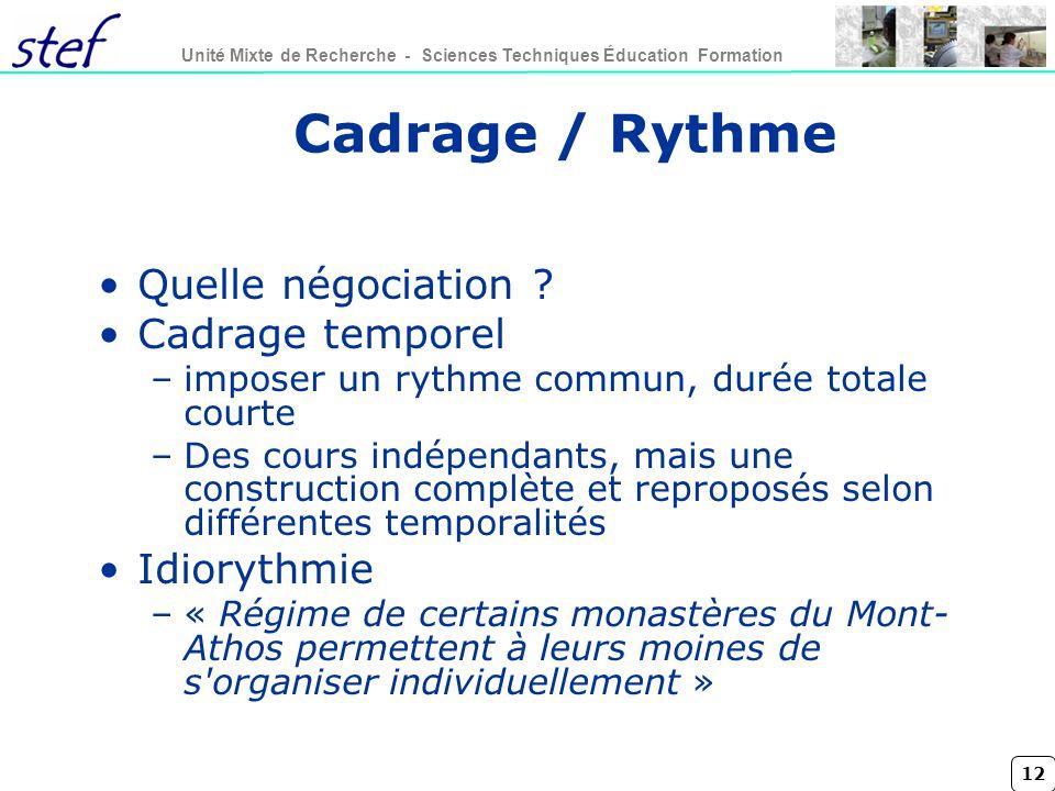Cadrage / Rythme Quelle négociation Cadrage temporel Idiorythmie