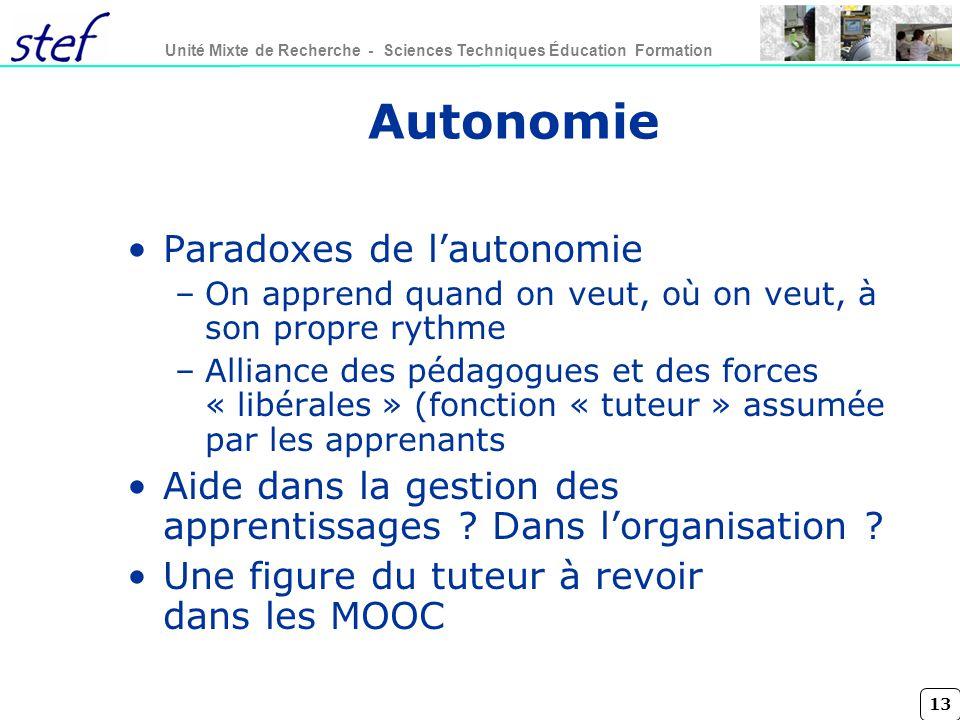 Autonomie Paradoxes de l'autonomie