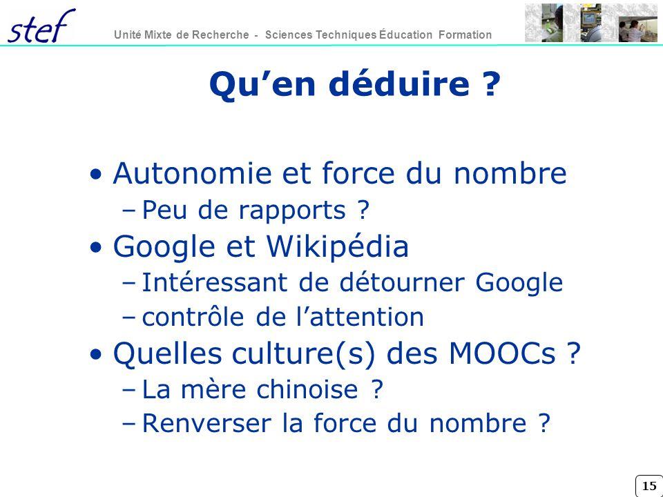 Qu'en déduire Autonomie et force du nombre Google et Wikipédia