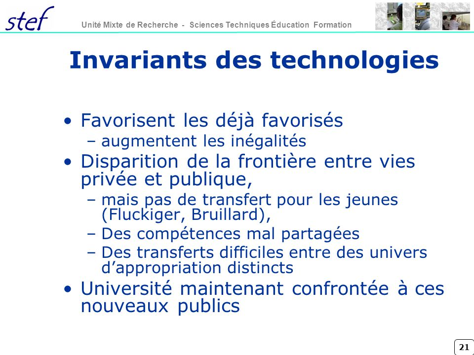 Invariants des technologies