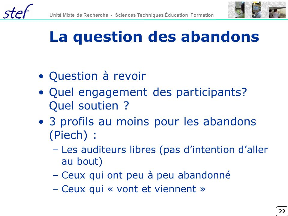 La question des abandons