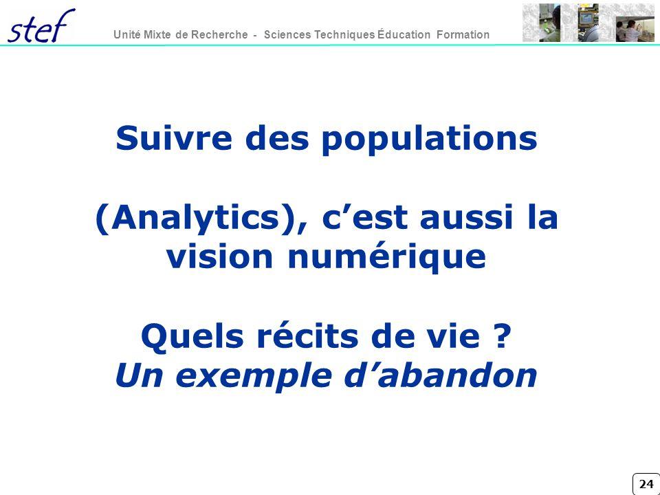 Suivre des populations (Analytics), c'est aussi la vision numérique Quels récits de vie .