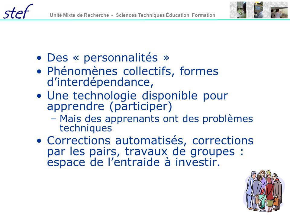 Phénomènes collectifs, formes d'interdépendance,