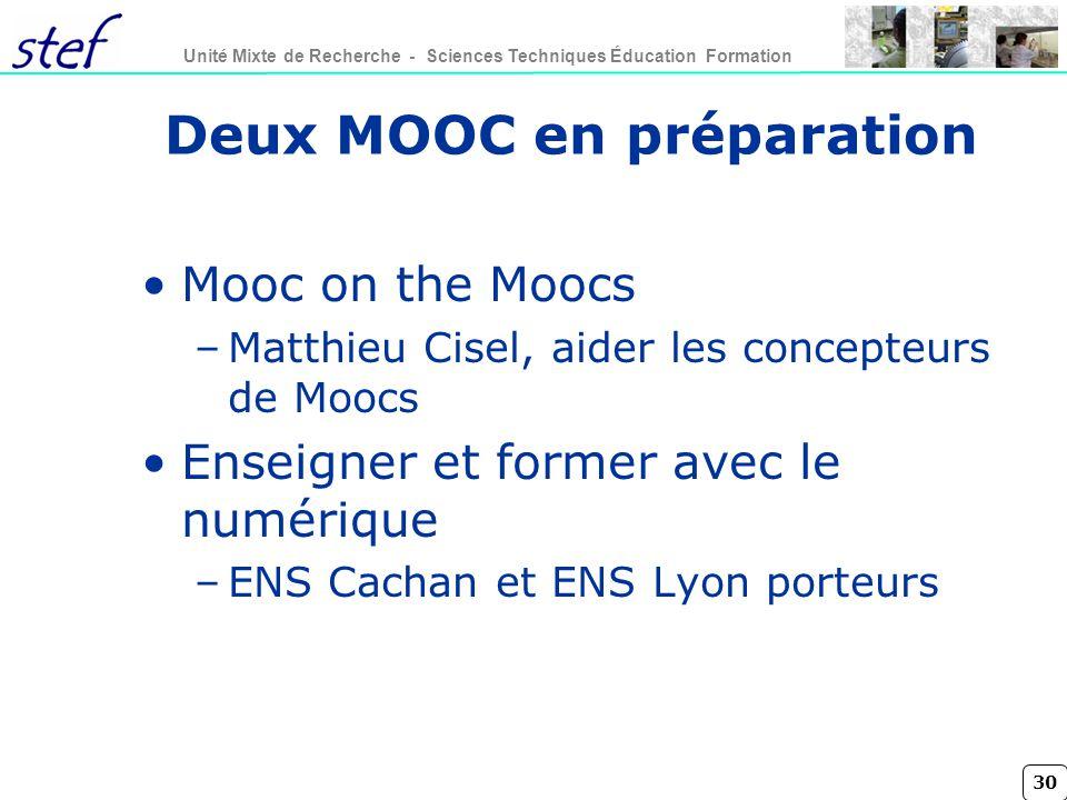 Deux MOOC en préparation