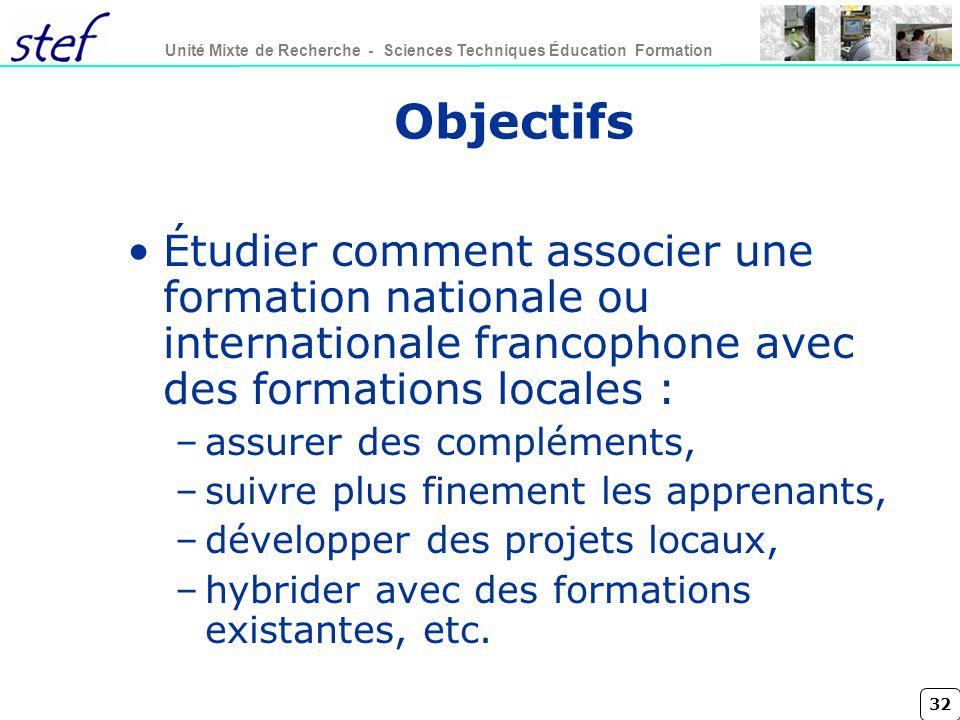 Objectifs Étudier comment associer une formation nationale ou internationale francophone avec des formations locales :