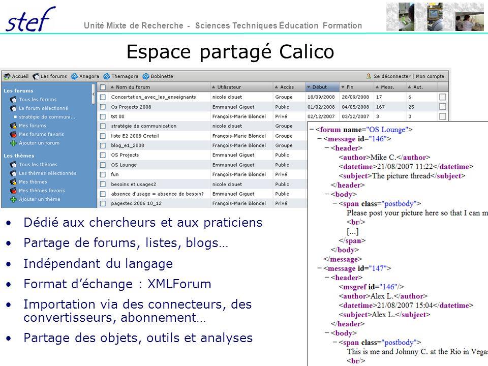 Espace partagé Calico Dédié aux chercheurs et aux praticiens