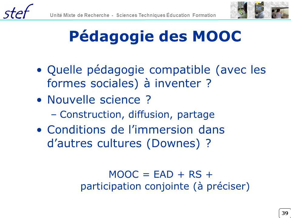 MOOC = EAD + RS + participation conjointe (à préciser)