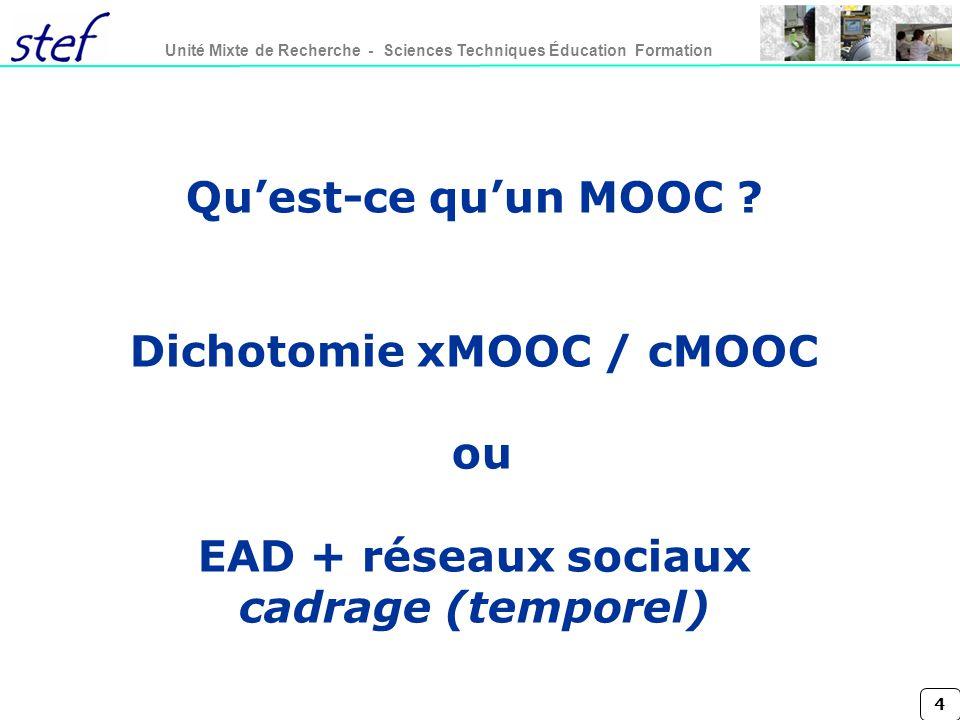 Qu'est-ce qu'un MOOC Dichotomie xMOOC / cMOOC ou EAD + réseaux sociaux cadrage (temporel)