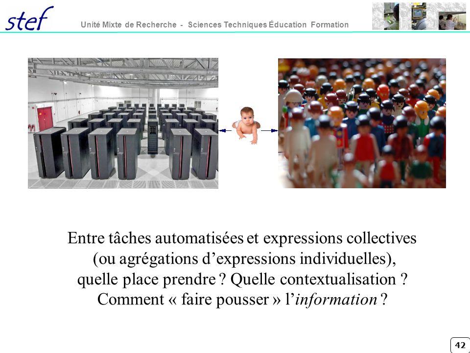 Entre tâches automatisées et expressions collectives (ou agrégations d'expressions individuelles), quelle place prendre .