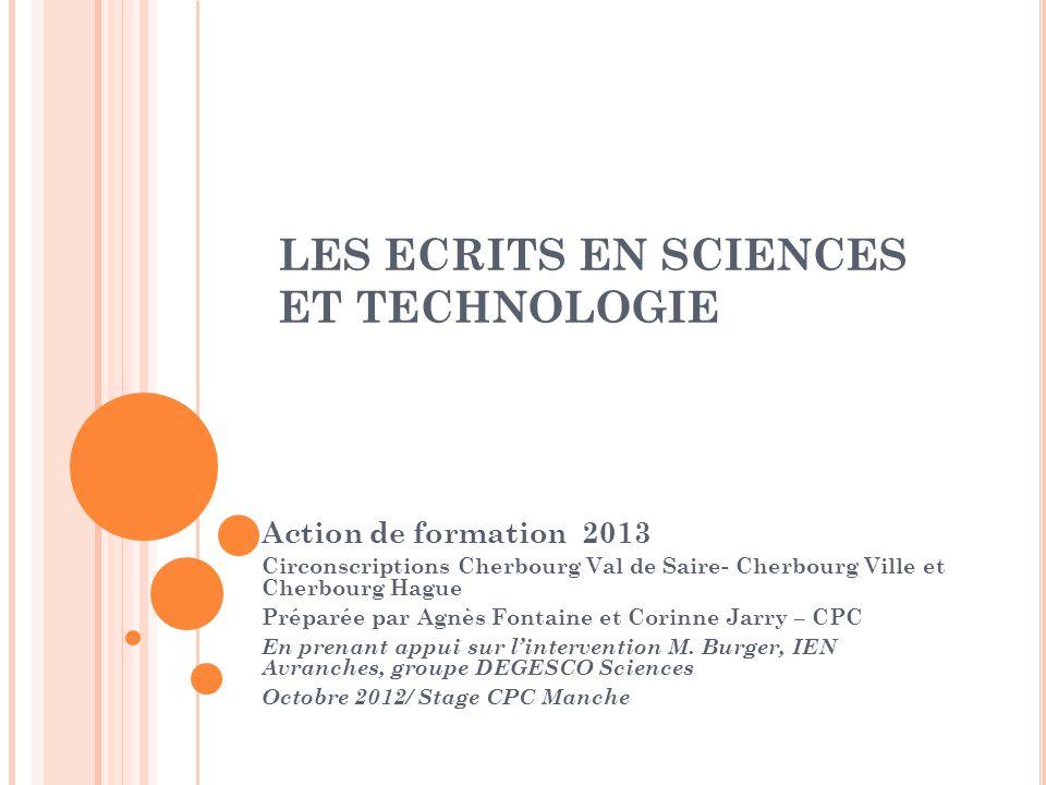 LES ECRITS EN SCIENCES ET TECHNOLOGIE