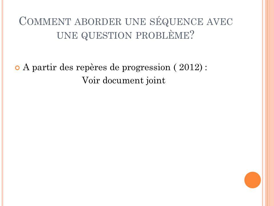 Comment aborder une séquence avec une question problème