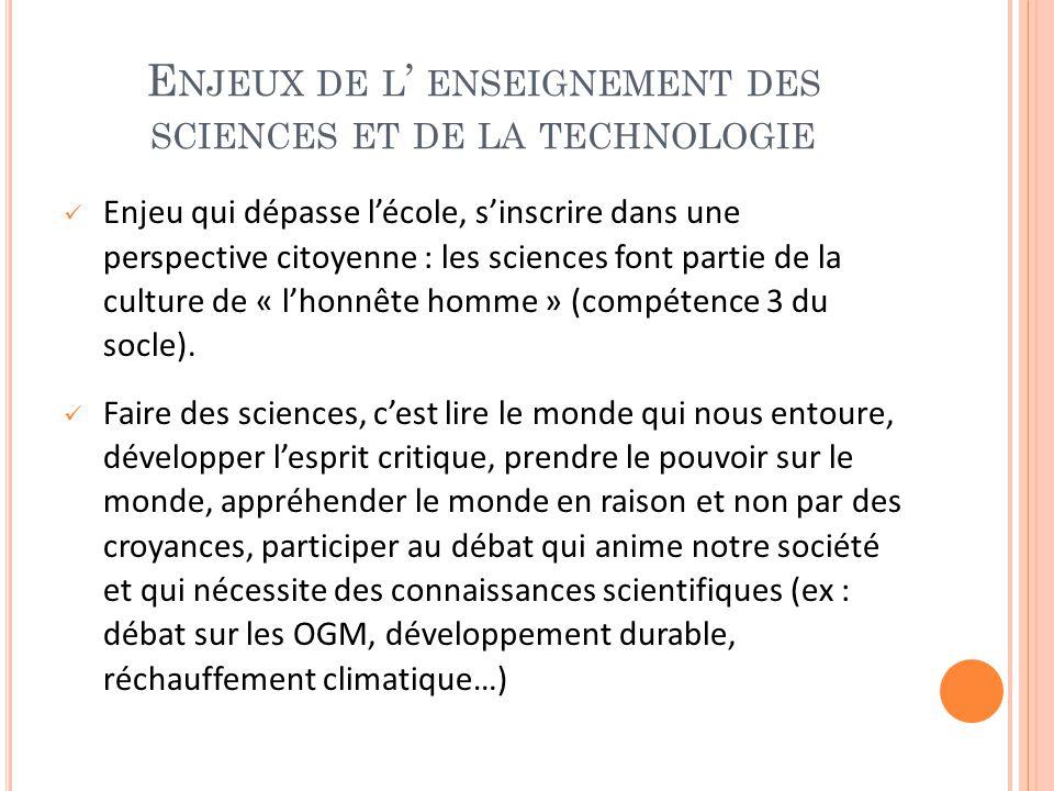 Enjeux de l' enseignement des sciences et de la technologie