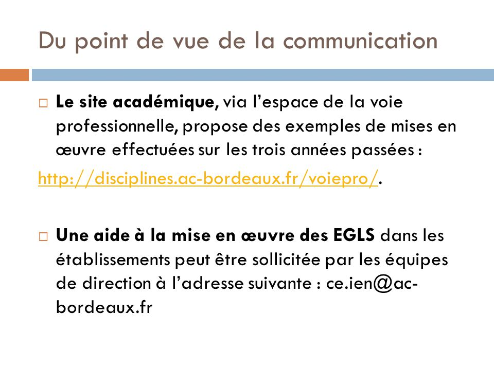 Du point de vue de la communication