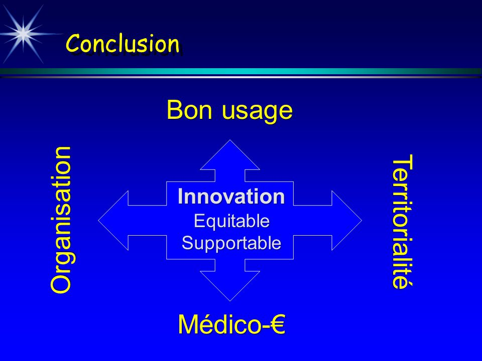 Bon usage Organisation Territorialité Médico-€ Conclusion Innovation