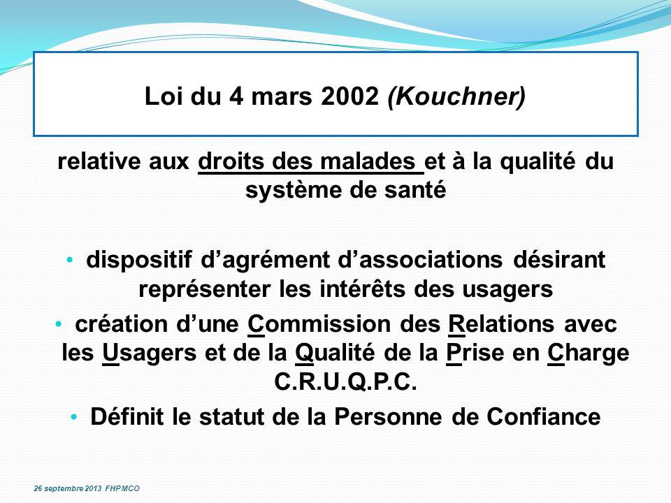 Loi du 4 mars 2002 (Kouchner) relative aux droits des malades et à la qualité du système de santé.