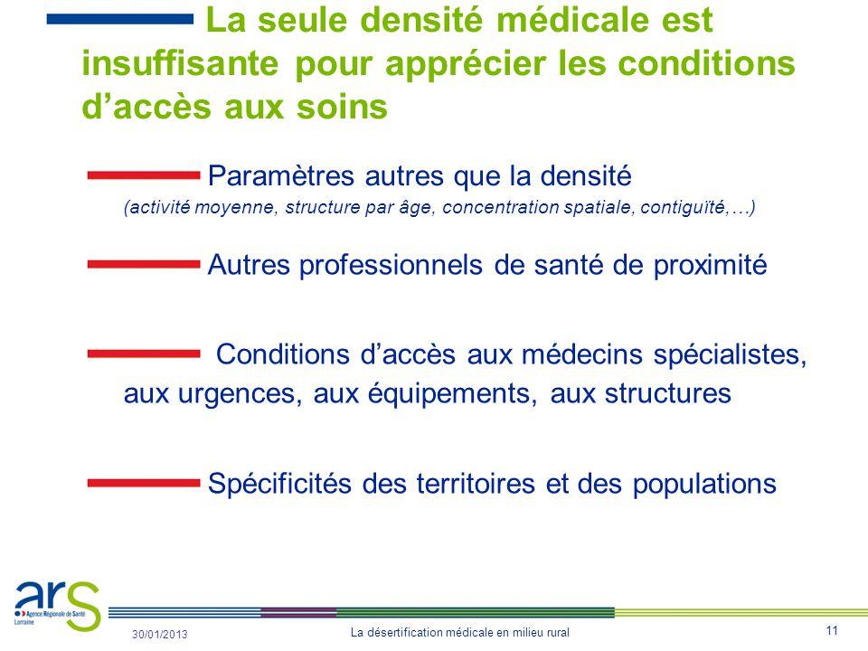 La seule densité médicale est insuffisante pour apprécier les conditions d'accès aux soins