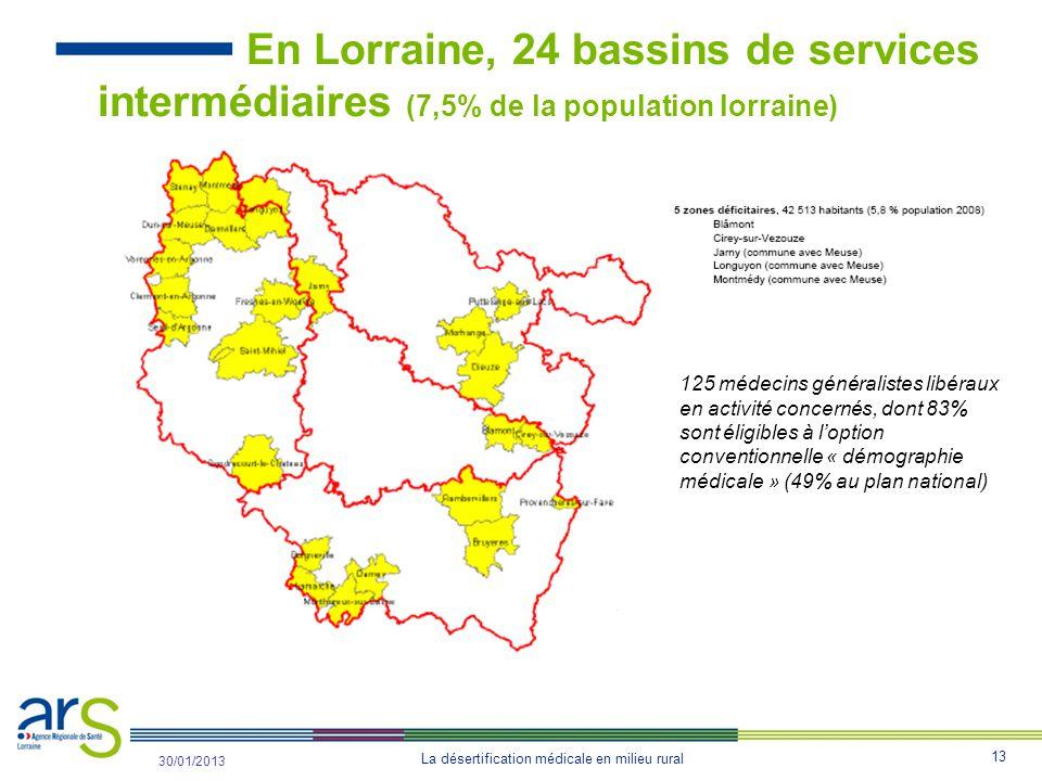 En Lorraine, 24 bassins de services intermédiaires (7,5% de la population lorraine)