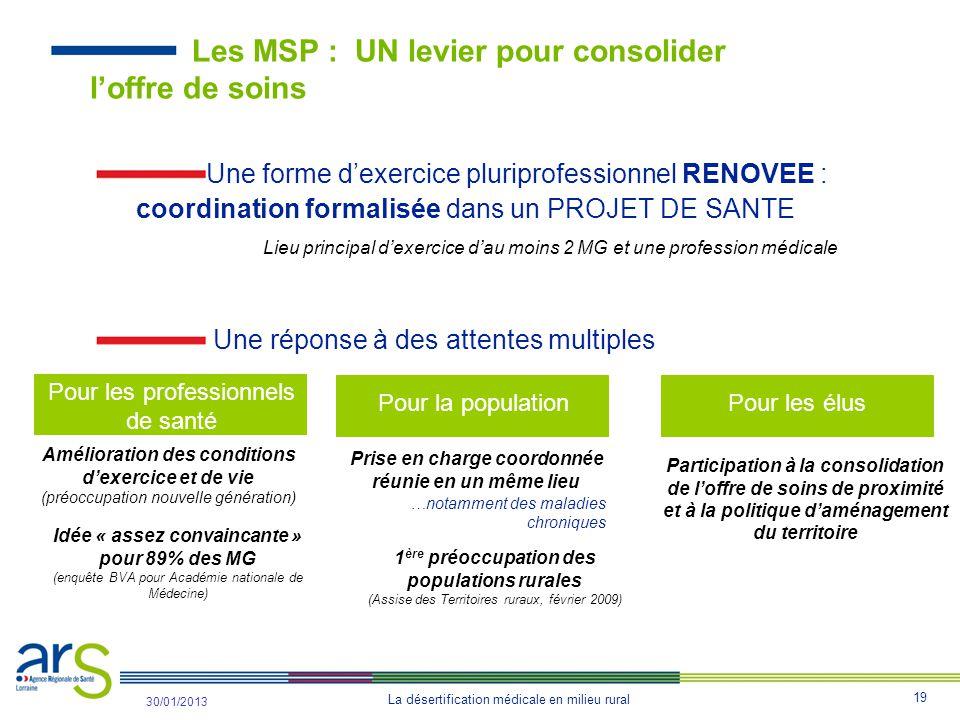Les MSP : UN levier pour consolider l'offre de soins