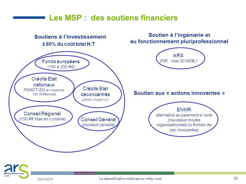 Les MSP : des soutiens financiers
