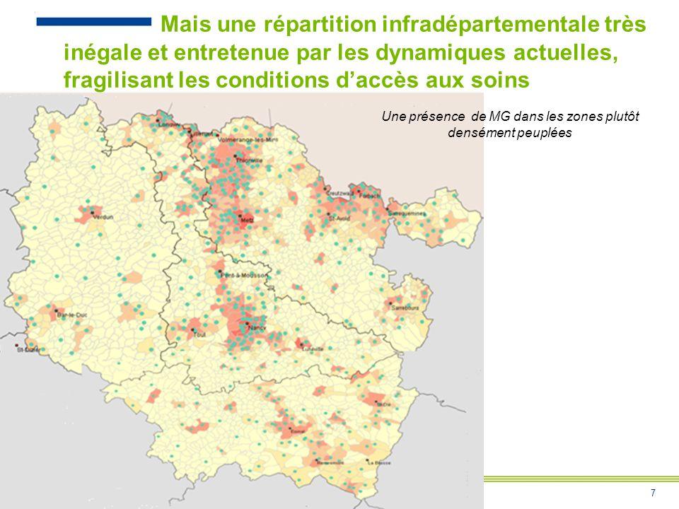 Une présence de MG dans les zones plutôt densément peuplées