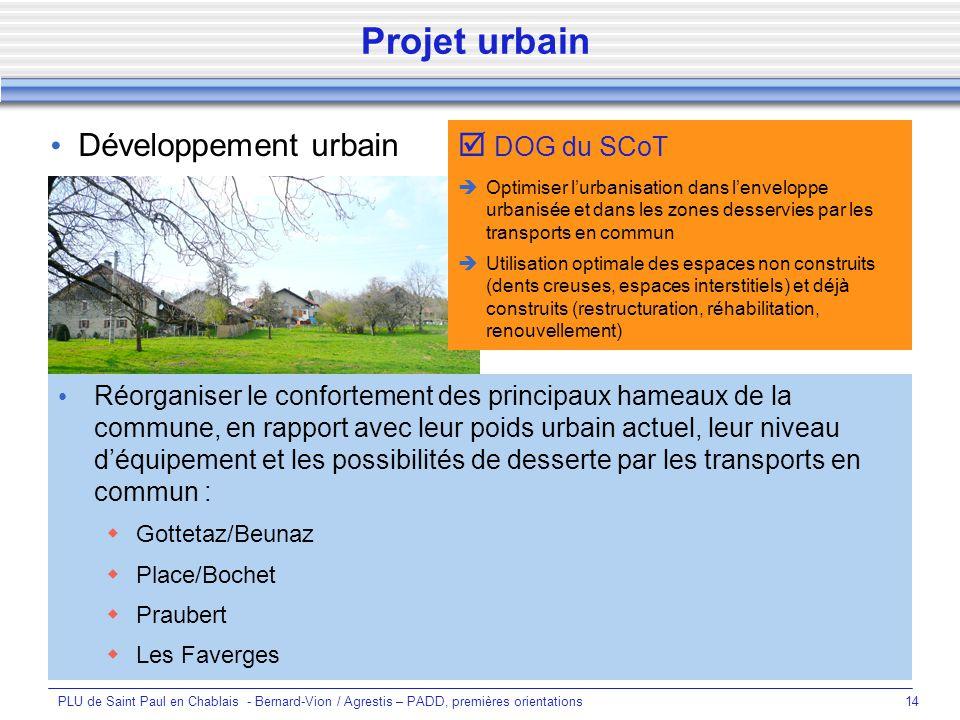 Projet urbain Développement urbain  DOG du SCoT