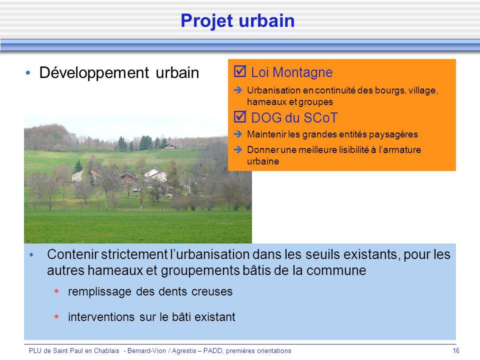 Projet urbain Développement urbain  Loi Montagne  DOG du SCoT
