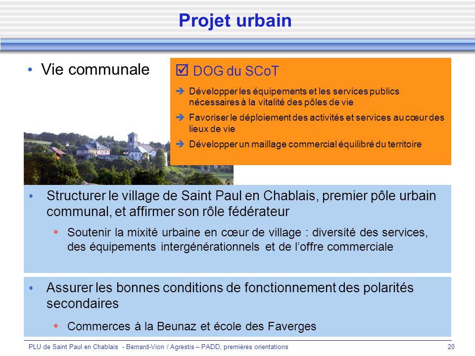 Projet urbain Vie communale  DOG du SCoT