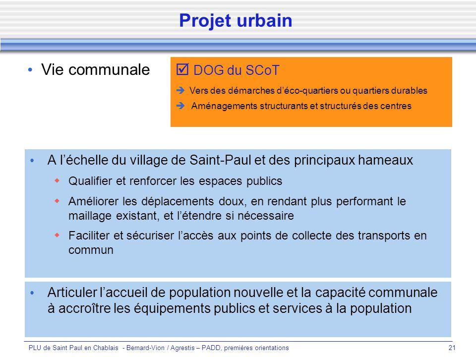 Projet urbain  DOG du SCoT Vie communale