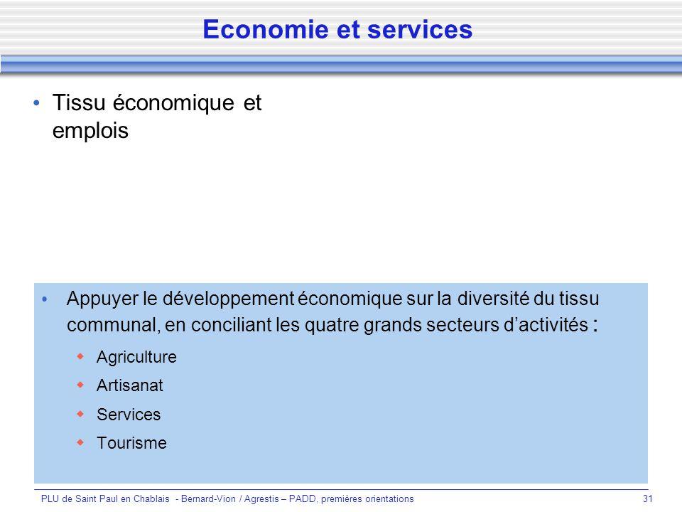 Economie et services Tissu économique et emplois