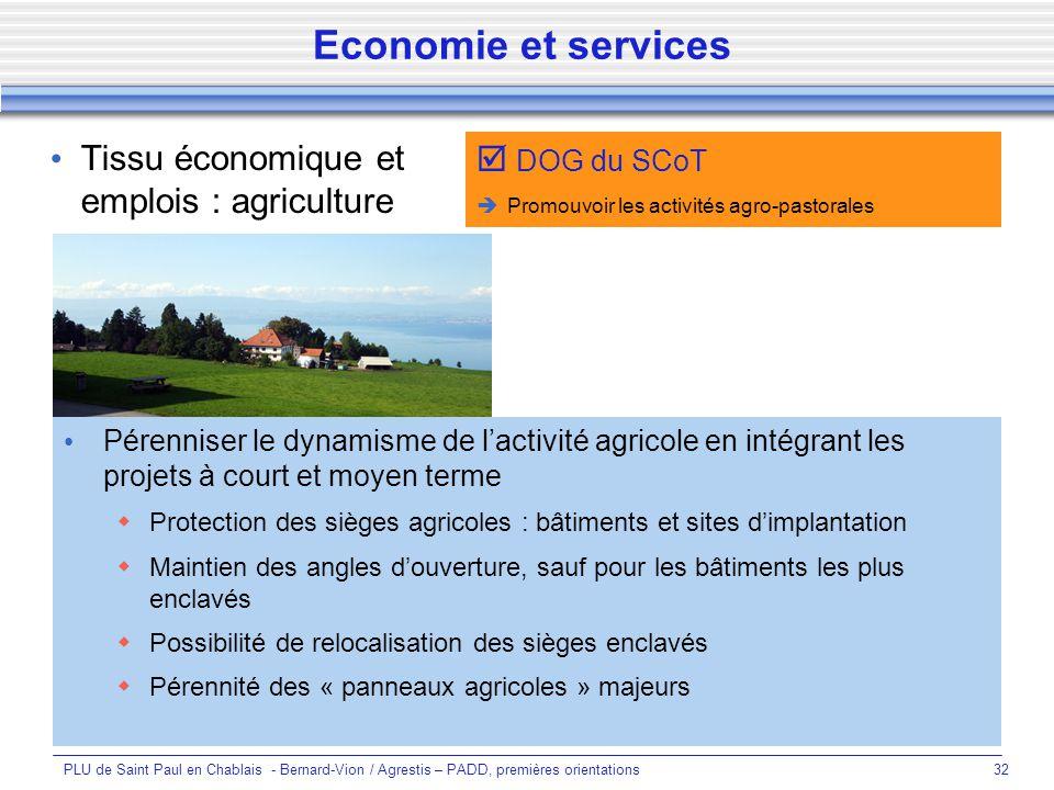 Economie et services Tissu économique et emplois : agriculture