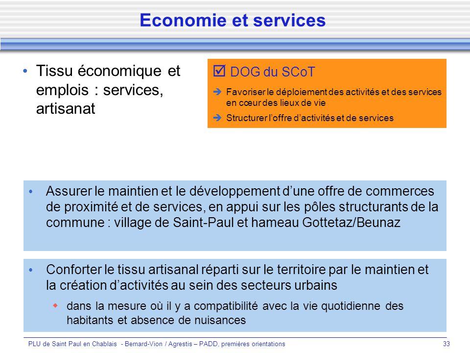 Economie et services Tissu économique et emplois : services, artisanat