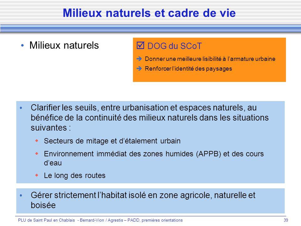Milieux naturels et cadre de vie