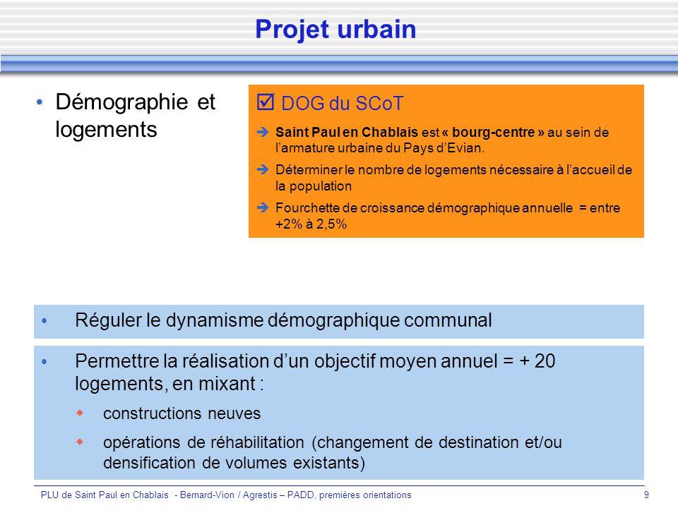 Projet urbain Démographie et logements  DOG du SCoT