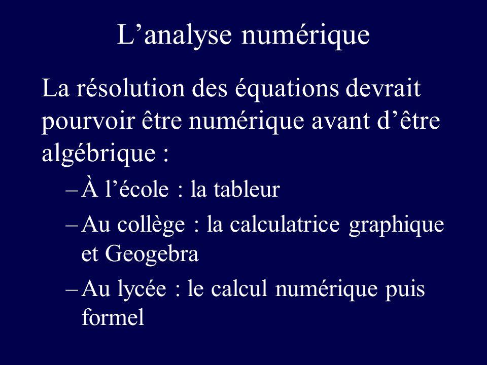L'analyse numérique La résolution des équations devrait pourvoir être numérique avant d'être algébrique :