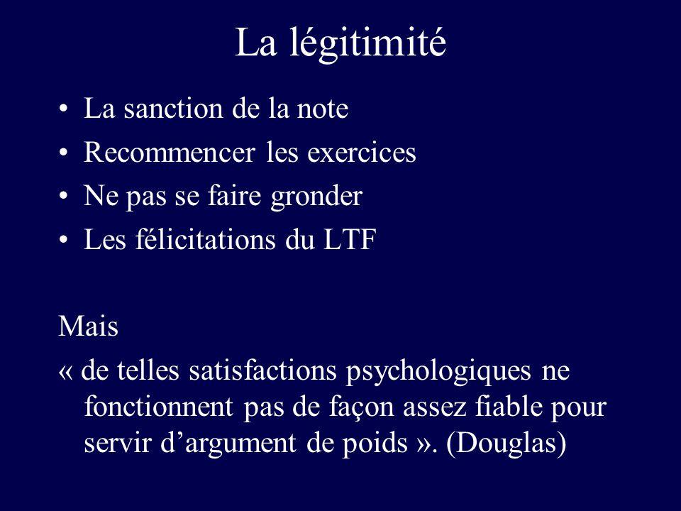 La légitimité La sanction de la note Recommencer les exercices